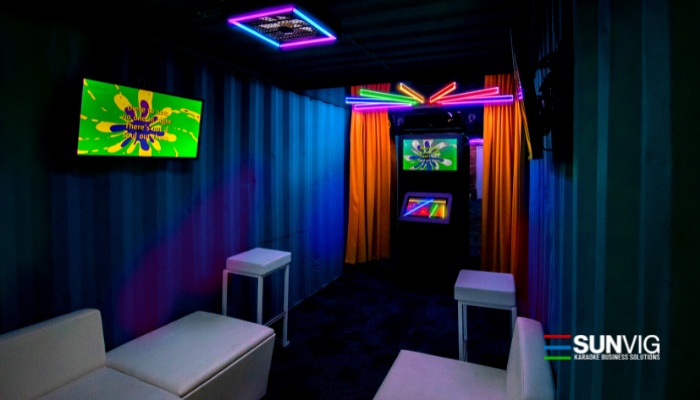 private karaoke room created by SUNVIG Antwerp Belgium - LED Neon different colors ktv booth 5 lcd